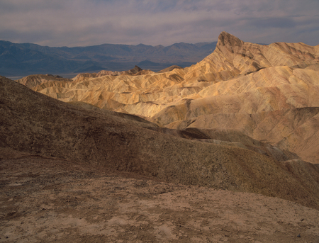Manley Beacon from the Golden Canyon badlands, Death Valley National Park, California