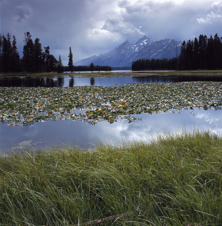 Clearing thunderstorm above Heron Pond, Grand Teton National Park, Wyoming