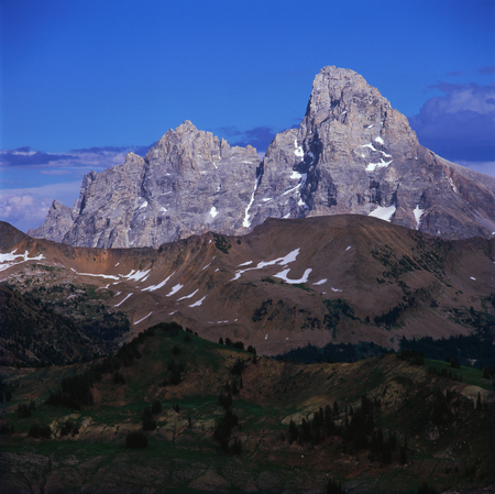 The west face of the Cathedral Range from the summit of Freds Mountain, Grand Teton National Park, Wyoming Stock Photo