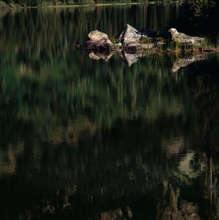 Reflections in Taggart Lake, Grand Teton National Park, Wyoming Фото со стока