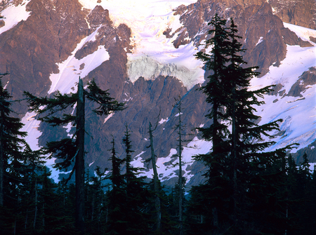 Alpenglow on the north face of Mount Shuksan, North Cascades National Park, Washington
