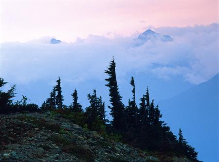 Pink sky at sunset, North Cascades National Park, Washington