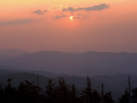 Sunset from Clingmans Dome, Great Smoky Mountains National Park, TennesseeNorth Carolina