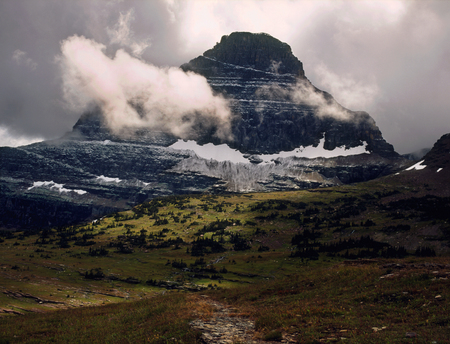 Storm sky and Mount Reynolds, Glacier National Park, Montana