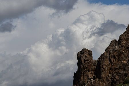 Storm Clouds Above Superstition Mountain, Lost Dutchman State Park, Arizona Фото со стока