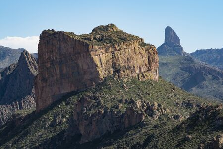 Battleship Mountain and Weavers Needle from the Boulder Canyon Trail, Superstition Mountains, Arizona