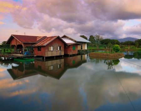 An old restaurant built on a lake at Borneo, Sabah, Malaysia  photo