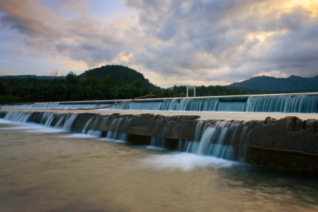 Man made waterfall at Borneo, Sabah, Malaysia taken at sunset Stock Photo - 17529148