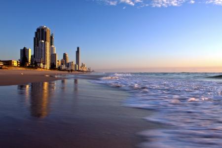 gold coast australia: Sunrise at the beach in Gold Coast, Australia  Editorial