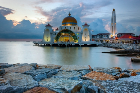 malaysia culture: Malacca Straits Mosque, Malaysia at sunset