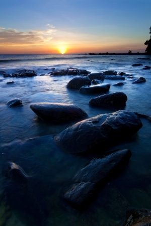 Sunset at the Tip of Borneo, Sabah, Malaysia Stock Photo - 18988618