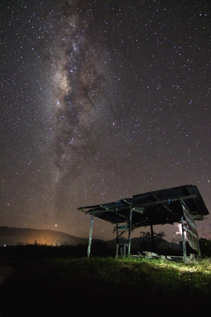 stargazing: The milky way and an old hut at Sabah, Borneo, Malaysia