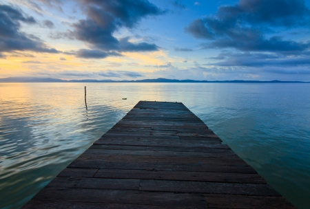 Jetty and sunset at Borneo, Sabah, Malaysia photo