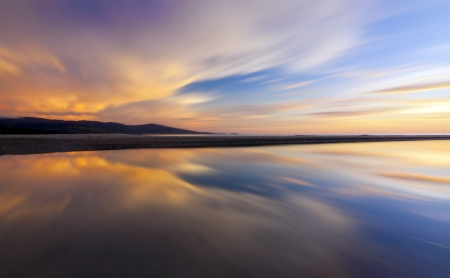 Abstract reflection of colorful sunset for background Stock Photo - 23990927