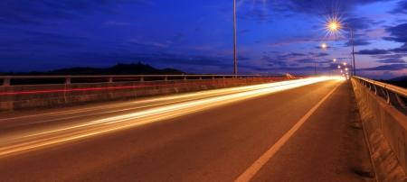 Light trails at blue hour photo