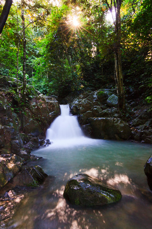 Waterfall in a rainforest at Sabah, Borneo, Malaysia photo