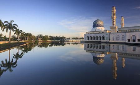 Reflection of Kota Kinabalu city mosque at Sabah, Borneo, Malaysia Editorial