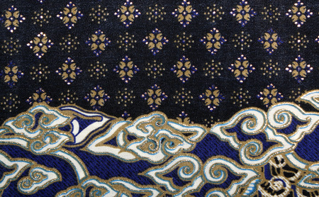 Fabric with floral batik pattern