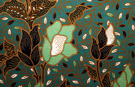 asian art: Fabric with floral batik pattern