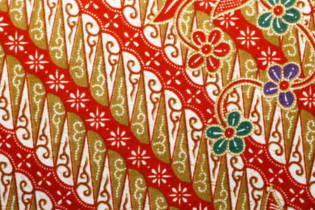 Fabric with floral batik pattern photo