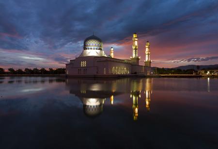 Beautiful Kota Kinabalu city mosque at sunrise in Sabah, Malaysia, Borneo