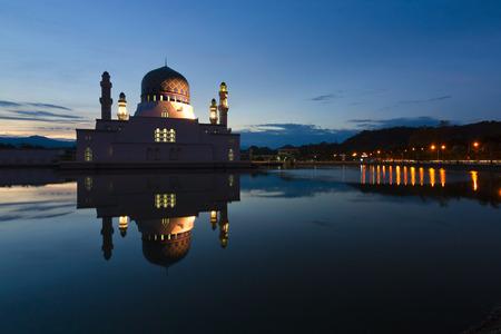 Beautiful Kota Kinabalu city mosque at dawn in Sabah, Malaysia, Borneo