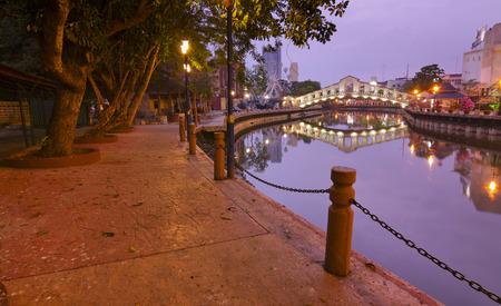 Malacca river at dawn, Malaysia photo