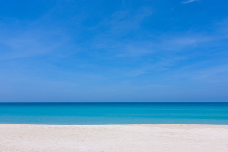 Beautiful blue sky and white sand at a beach in Sabah, East Malaysia, Borneo Stock Photo