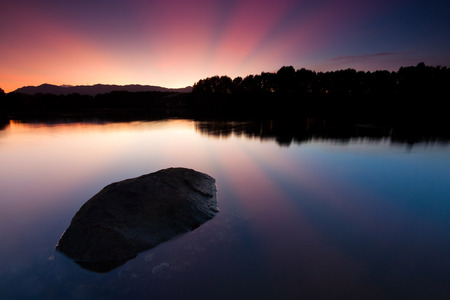 dreamscape: Tranquil sunrise at a lake in Sabah, East Malaysia, Borneo