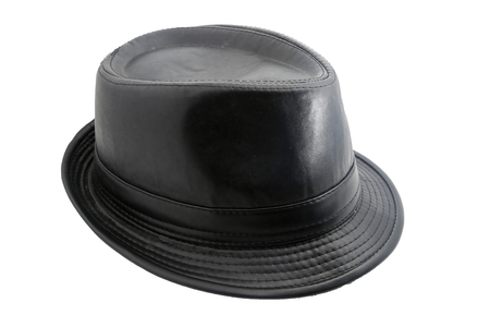 Black leather hat isolated on white Stock Photo