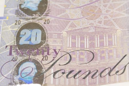 close up macro image of a twenty pound note photo