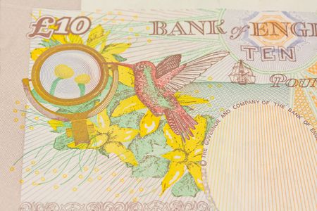 majesty: a ten pound note close up image of the back