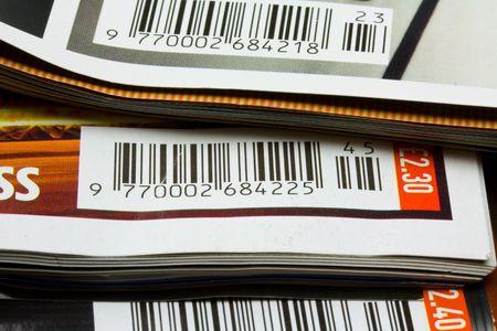 bar codes: bar codes on magazines Stock Photo