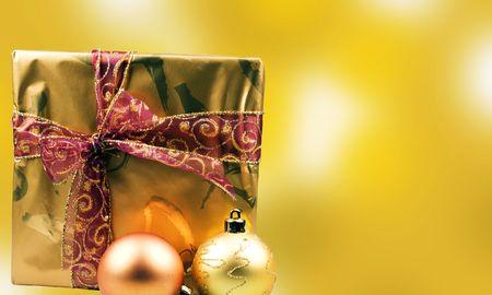 christmas presents and christmas balls photo