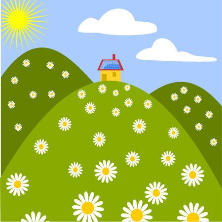 maison solaire: panneau solaire