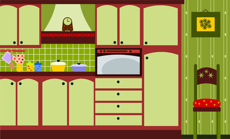 green kitchen Vector