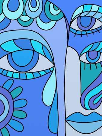 'face painting': abstract blue