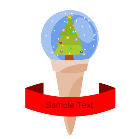 cone with christmas ball Vector