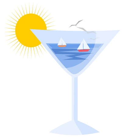 glass with ocean Stock Vector - 9699186