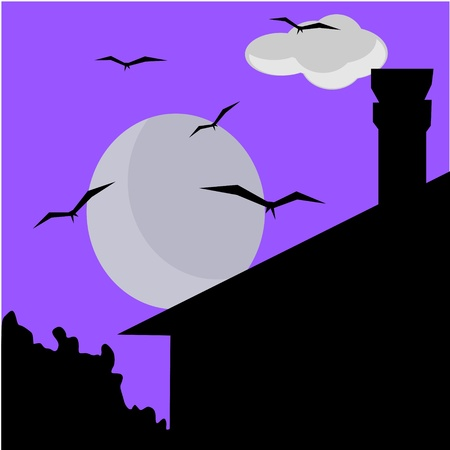 night with full moon Vector