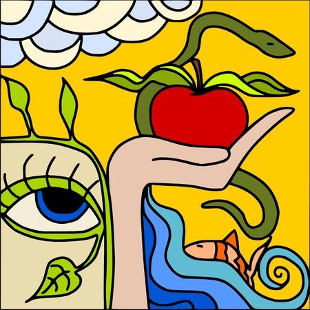serpents: red apple Illustration