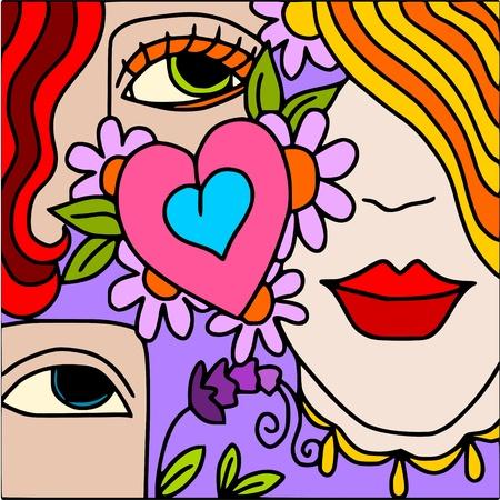 heart and flower Illustration