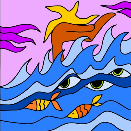 tsunami wave: abstract ocean