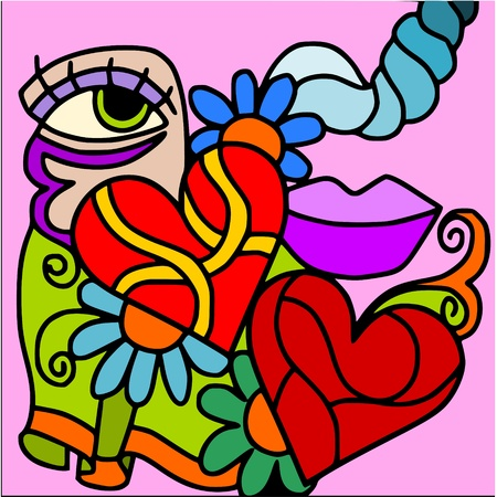 passion flower: abstract love Illustration