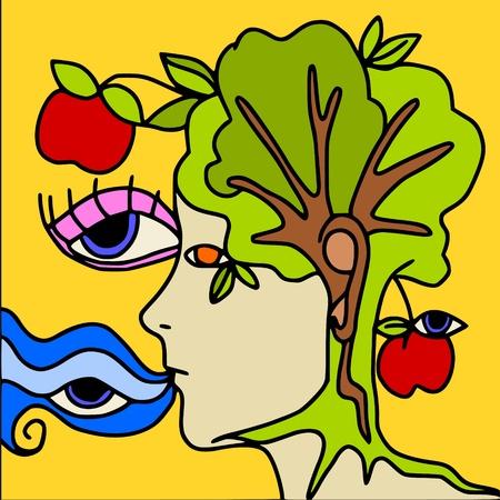 botany woman: tree face