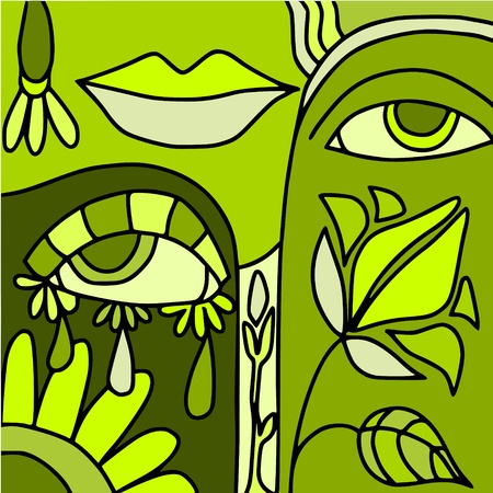 mysterious woman: abstract green