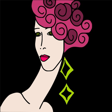 woman black background: abstract face