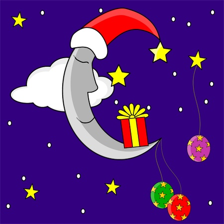 christmas moon Vector