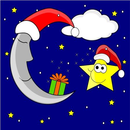 star and crescent: estrella y Luna Vectores