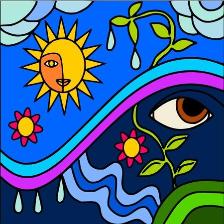 eye drops: abstract nature Illustration